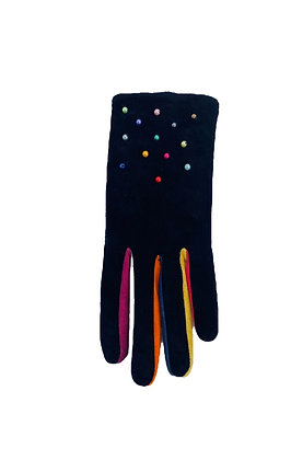 Black Suede and Multicolored Pearls Gloves