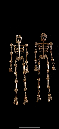 Dangling Rhinestone Skeleton Earrings