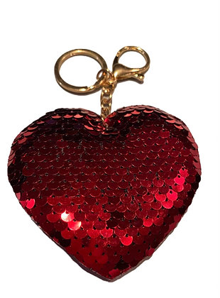 Sequin Heart Keychain/ Clasp