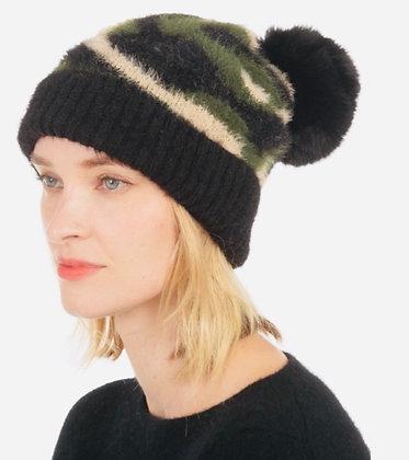 Faux Fur Pom Pom Camo Hat