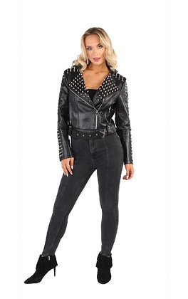 Croc Faux Leather Belted Moto Jacket