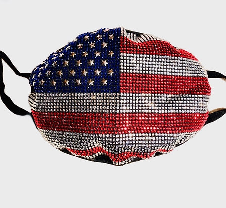 Crystal American Flag Fashion Mask