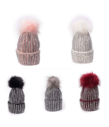Blinged Out Rhinestone Beanie Detachable PomPom