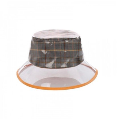 Plaid Clear Bucket Rain Hat