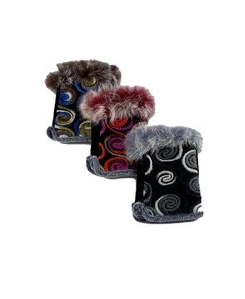 Real Fur Yarn Top Swirl Fingerless Gloves