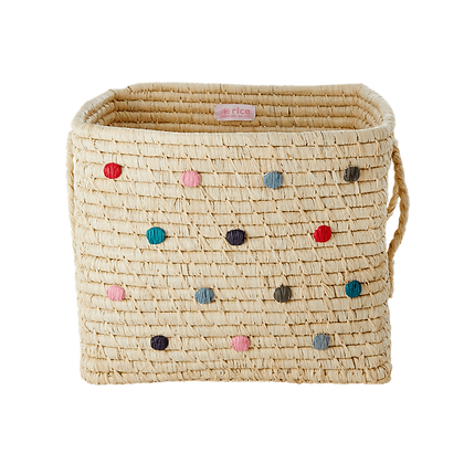 Raffia Square Basket with Raffia Handles - Dots in 'Believe in Red Lipstick'