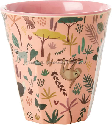 Melamine Cup with Coral All Over Jungle Animals Print - Two Tone - Med