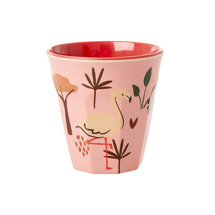 Melamine Kids Cup with Pink Jungle Animal Print - Small
