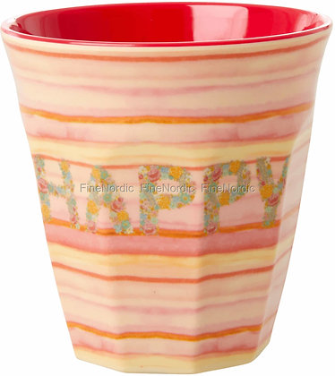Melamine Cup with Pink 'HAPPY' Print - Two Tone - Medium