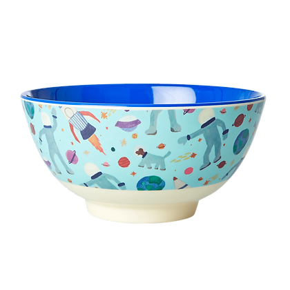 Melamine Bowl with Space Print - Two Tone - Medium