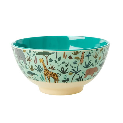 Melamine Bowl with Green All Over Jungle Animals Print - Two Tone - Sma