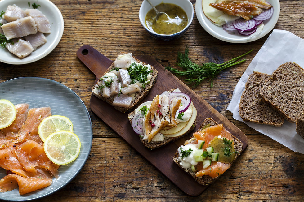 Scandinavian open sandwiches on Helsinki Citycopter Fly Dine and sail