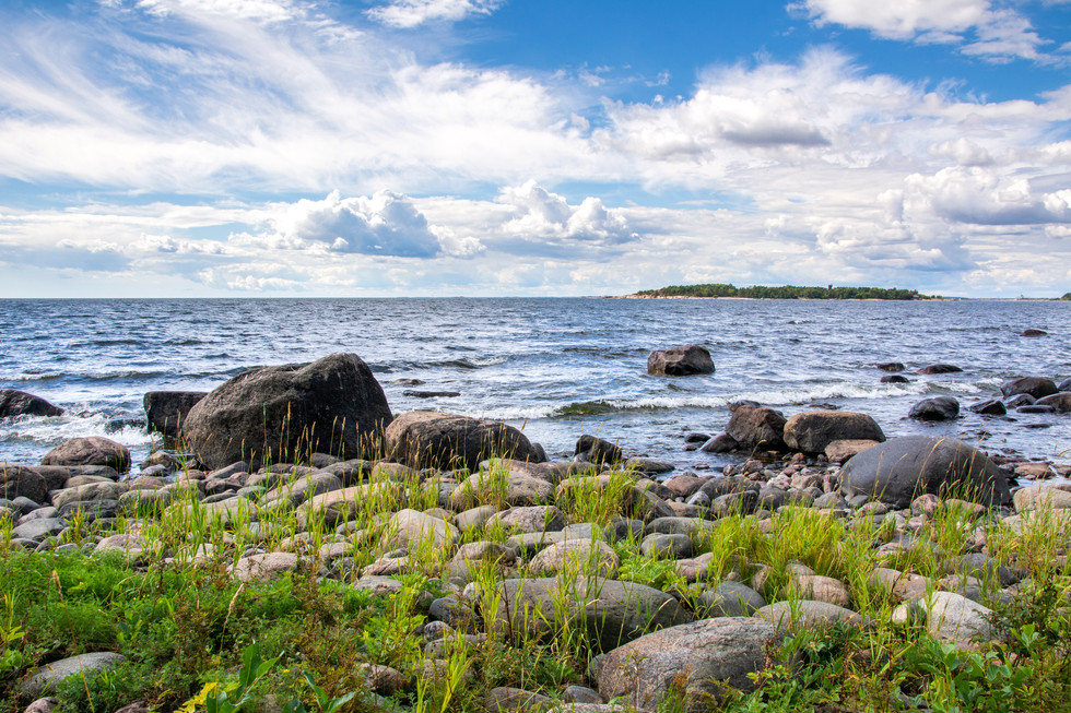 Coastal view of Isosaari island, stones