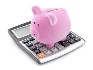piggy bank on a calculator