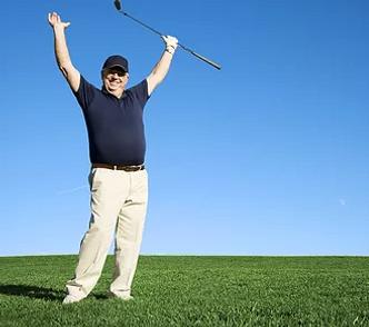 senior playing golf