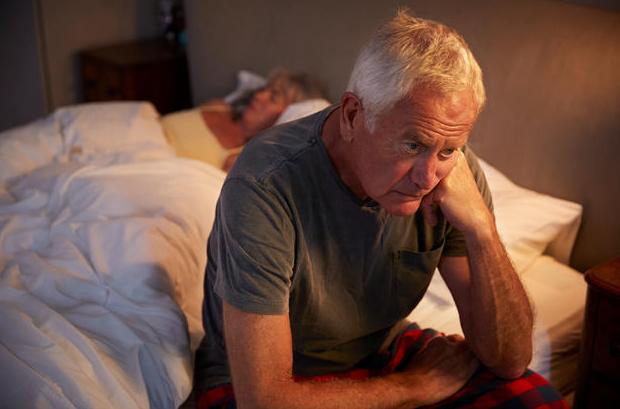 elderly man unable to sleep