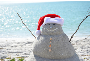 snowman at the beach