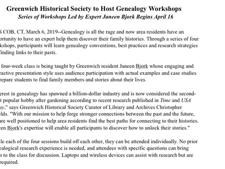 Greenwich Historical Society to Host Genealogy Workshops