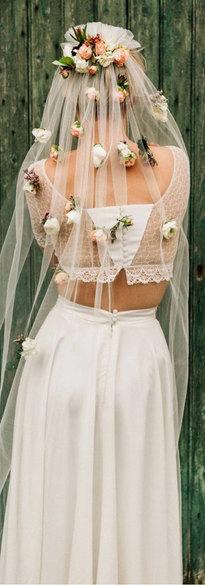 Voile de mariée fleuri