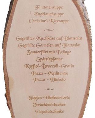 Birkenholzspeisekarte