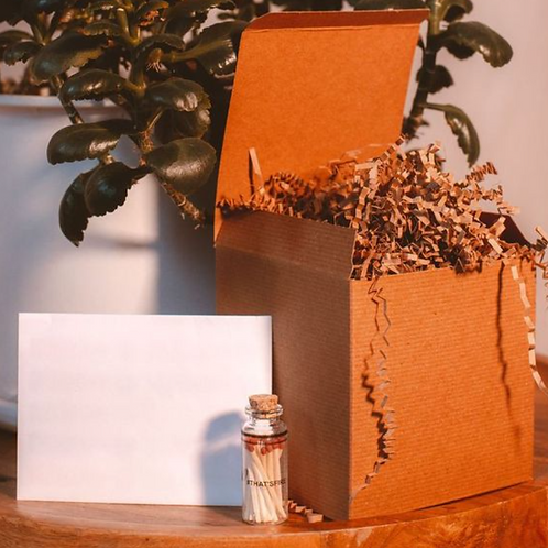 Gift Box + Matches + Blank note card (can be personalized)