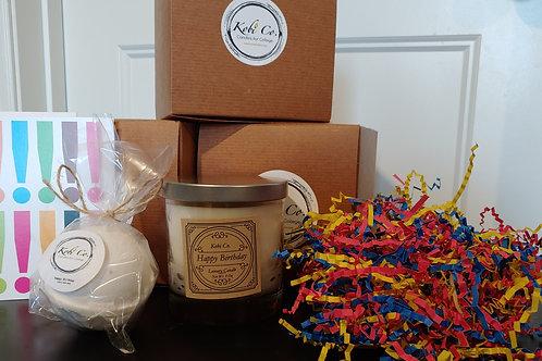 #HappyBirthday Gift Set (9 oz. candle,  Bath Bomb, Matches + Card)