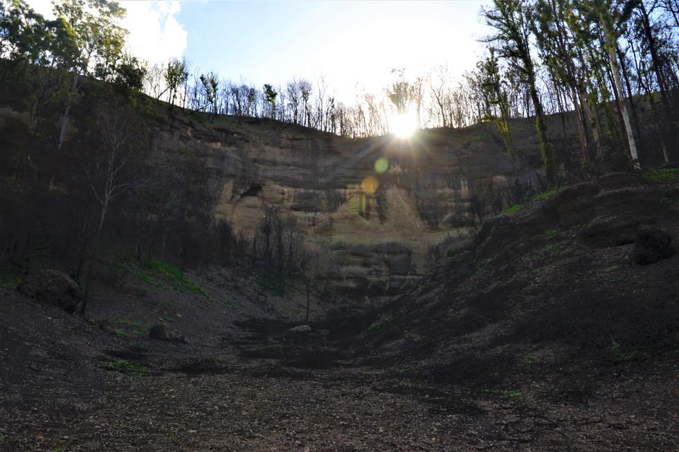 sandstone cliffs at sunset