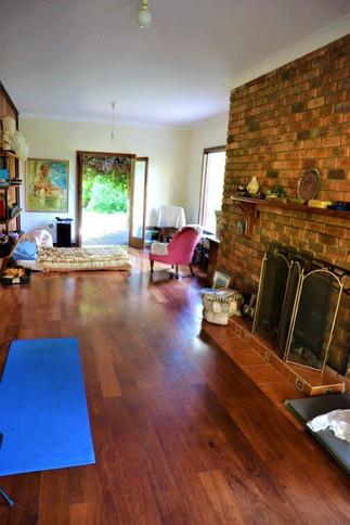 fireplace yoga room