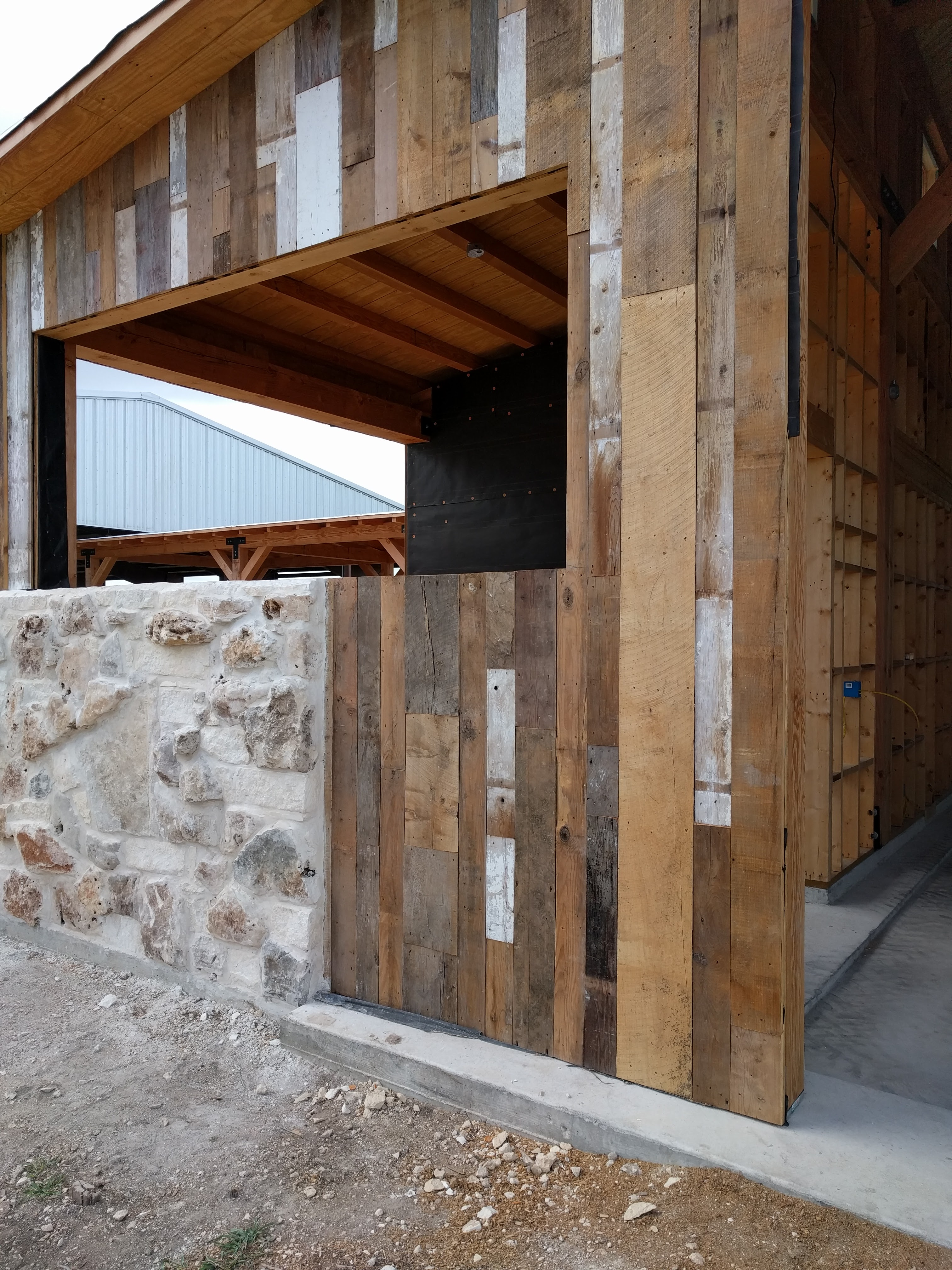 Stone/Wood placed for barn doors