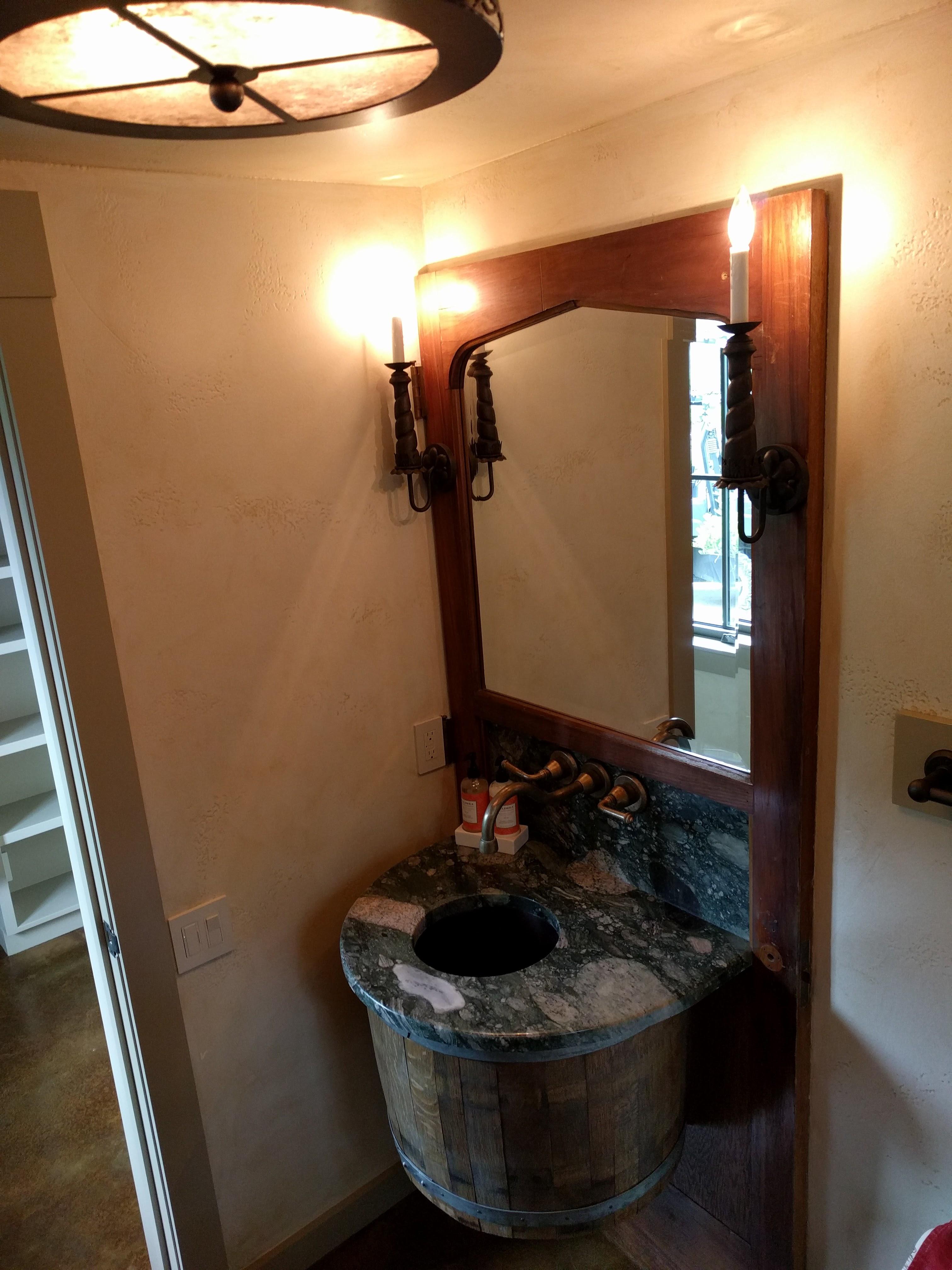 Found door & barrel in powder vanity