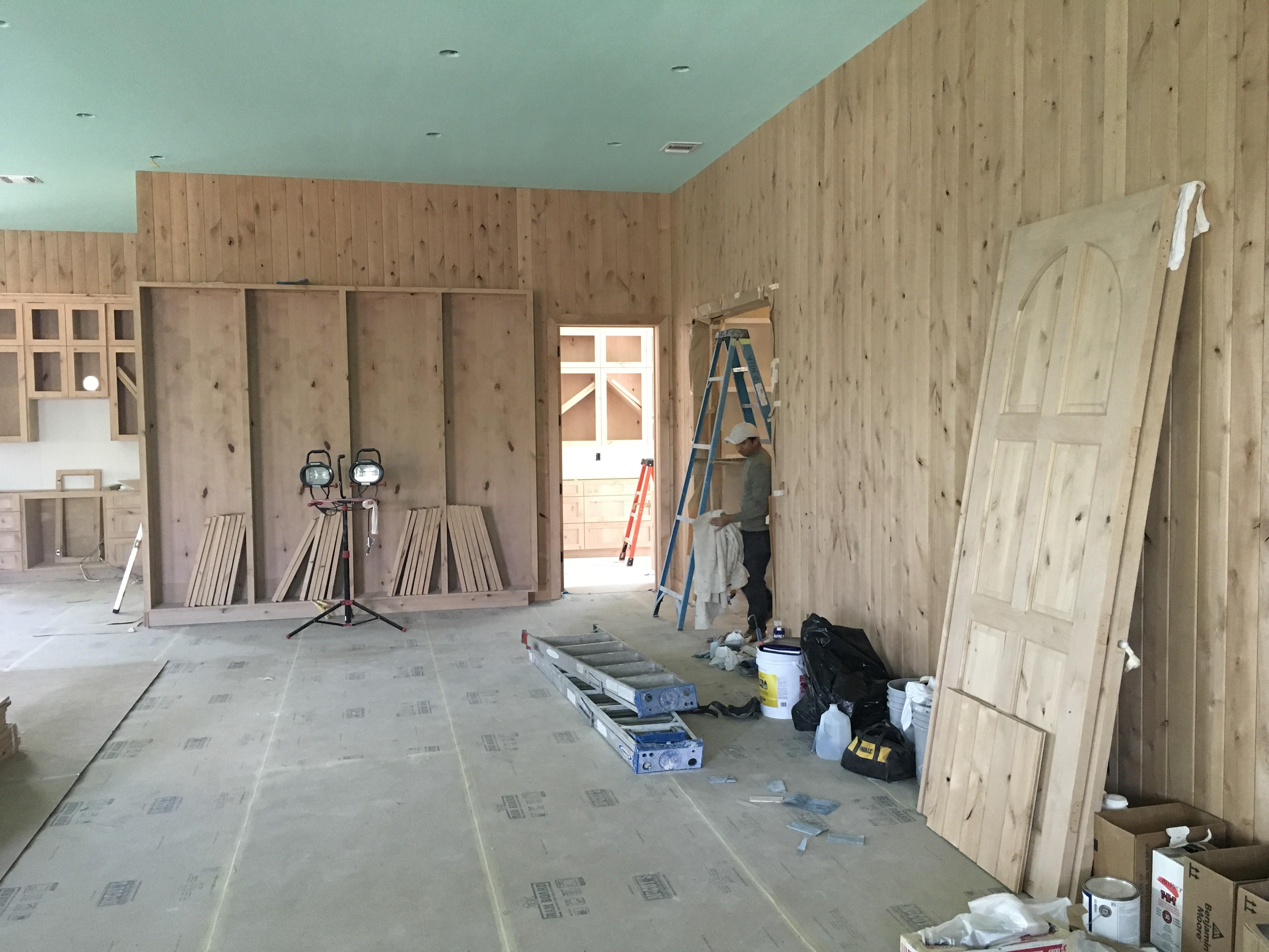 Studio wall paneling/shelves