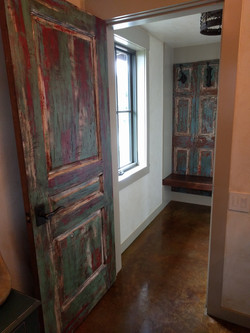 Door painted to match found shutters