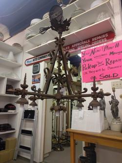 Found chandelier rewired for bar