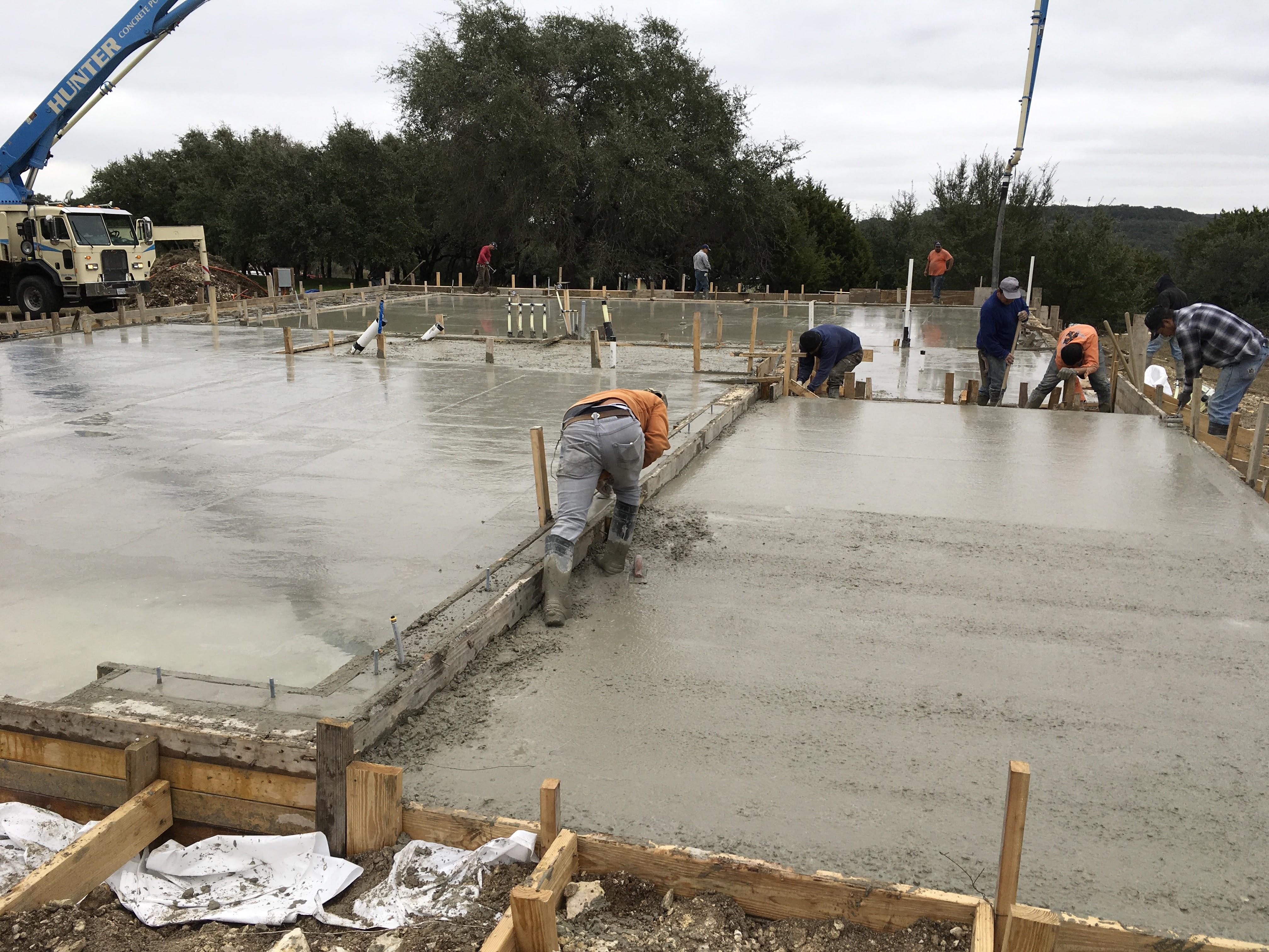 Concrete slab-- flooring drops