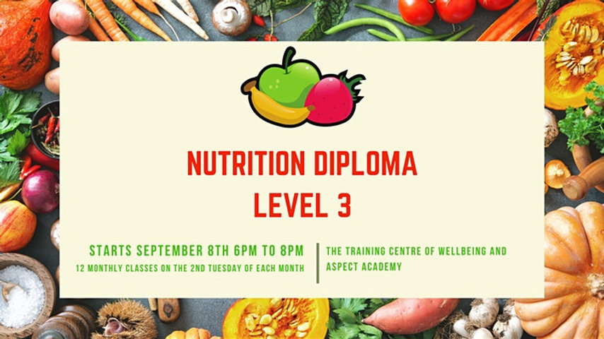 Level 3 Diploma in Nutritional Therapy (12 month course) £499
