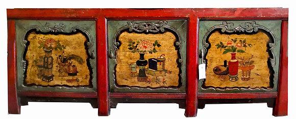 [VENDUTO] Credenza Gansu in lacca rossa e turchese - Mongolia