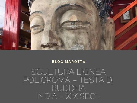 SCULTURA LIGNEA POLICROMA – TESTA DI BUDDHA