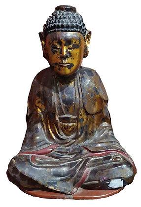 STATUA BUDDHA IN LEGNO DORATO E LACCATO INDOCINA