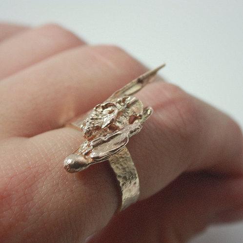 Custom 14 K Gold Straw Cast Ring