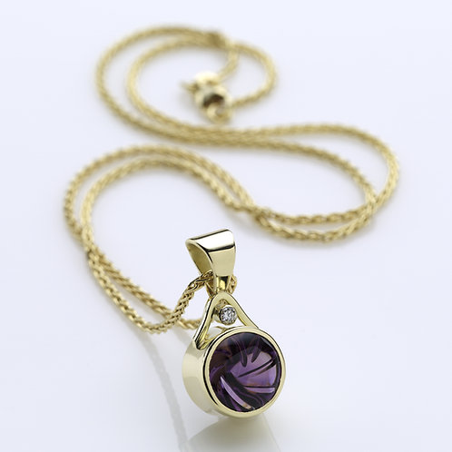 "Amethyst Pendant Necklace on 16"" 14k Chain"