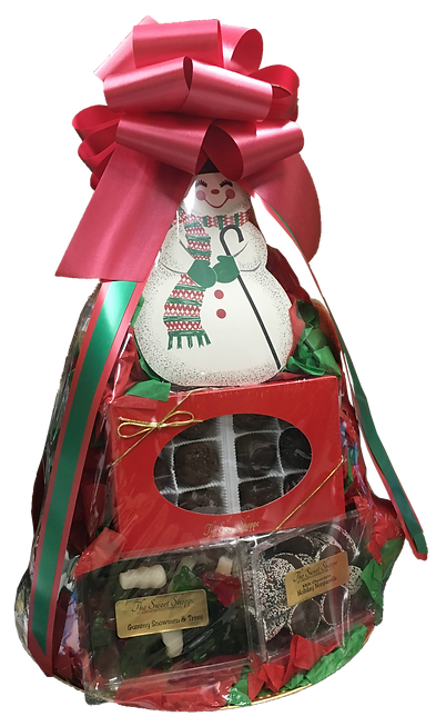 9 Lindsey's Muffins, 9 Pieces of Fruit, Fudge Filled Snowman, Christmas Gummy Candies, Chocolate Nonpareils, Asst Find Chocolates (12 pc)