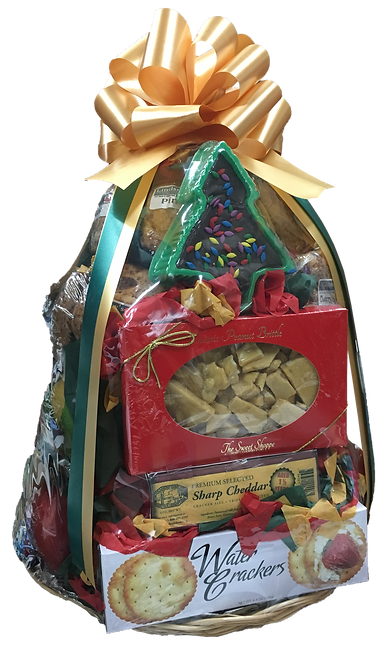 12 Lindsey's Muffins, 12 Pieces of Fruit, 8-oz Vermont Cheese, Table Water Crackers, Peanut Brittle, Christmas Tree Fudge, Asst Fine Chocolates (15 pc)