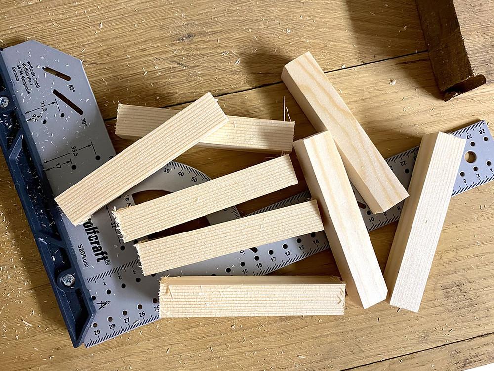 Holz zusägen für DIY Laterne