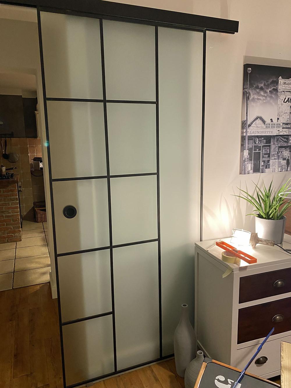 Glastür Upcycling mit Holz DIY Crittall Sprossentür