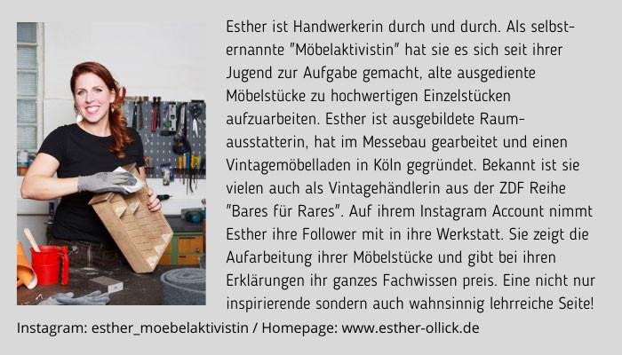 Esther Olllick Möbelaktivistin Bio