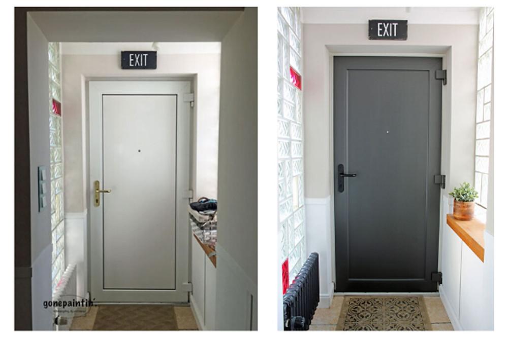 vorher nachher Tür streichen mit Kreidefarbe