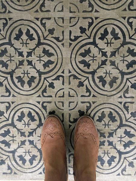 Fußmatte neu gestalten mit Schablone