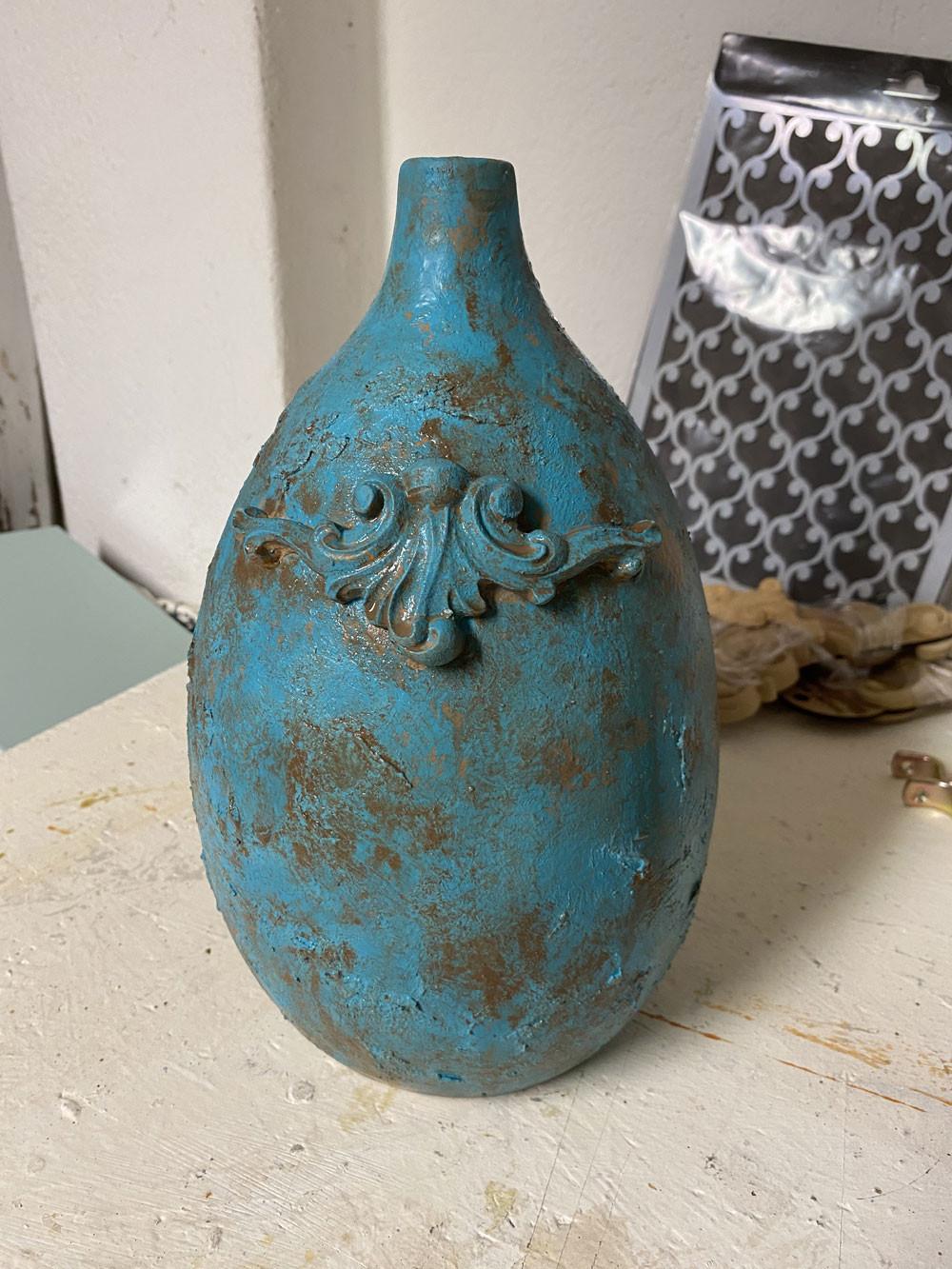Makeover Ikea Vase mit Kreidefarbe im shabby chic Stil