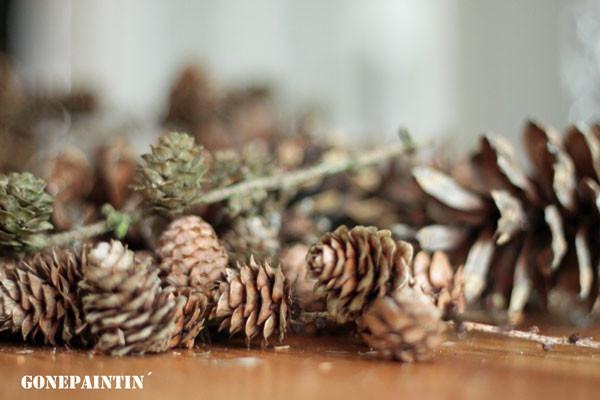 DIY Dekotanne gonepaintin Tannenzapfen gesammelt