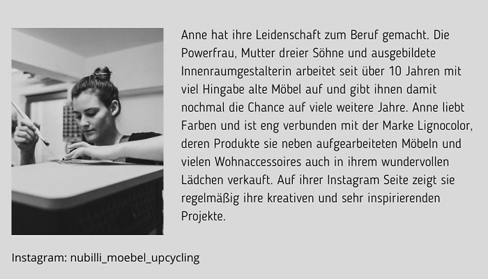 Anne Werner von nubilli möbelupcycling Bio